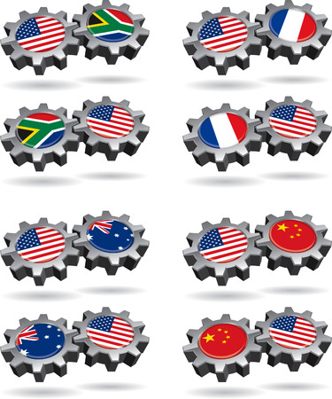 America Works With South Africa, France, Australia, and China Illustration