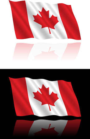 shiny background: Canadian Flag Flowing