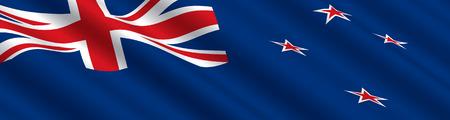 new zealand flag: Bandiera neozelandese in the Wind  Vettoriali