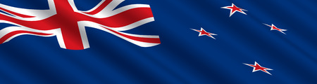 oceania: New Zealand Flag in the Wind