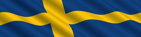 風の中でスウェーデンの国旗  イラスト・ベクター素材