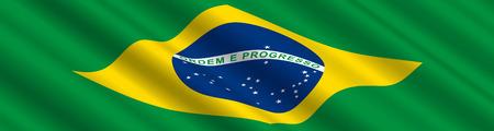 Brazilian Flag in the Wind Ilustracja