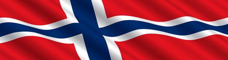 Norwegian Flag in the Wind Illustration