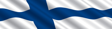 Finnish Flag in the Wind Illustration