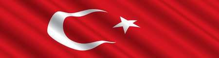 Turkish Flag in the Wind Ilustracja