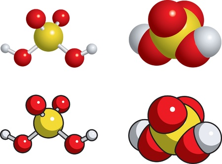 acido: Un modelo de bolas y palo de �cido sulf�rico.