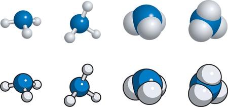 spachteln: Ball und Stick, Space Fill-Modell von Ammoniak Illustration