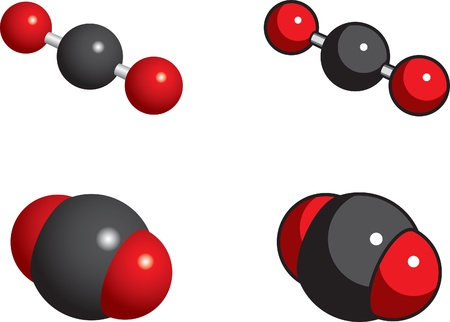 이산화탄소의 공간 채우기, 공 및 스틱 모델