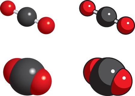 dioxido de carbono: Modelos de relleno, la bola y el palo de espacio de di�xido de carbono Vectores