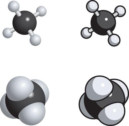 Raum-Füllung, Ball und Stock-Modelle von Methan