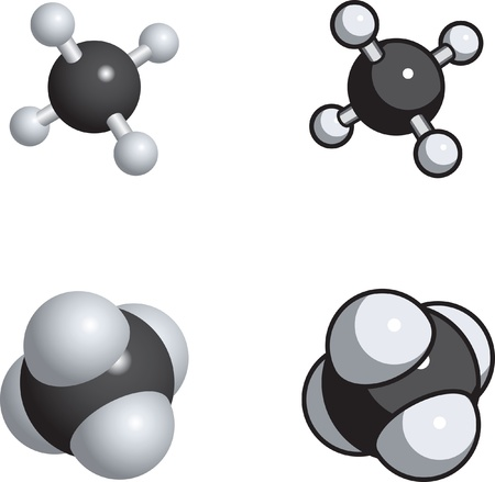 spachteln: Raum-F�llung, Ball und Stock-Modelle von Methan