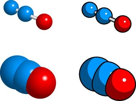 spachteln: Raum-F�llung, Ball und Stock-Modelle von Lachgas