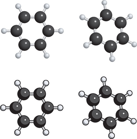 A ball and stick model of benzene. Vector