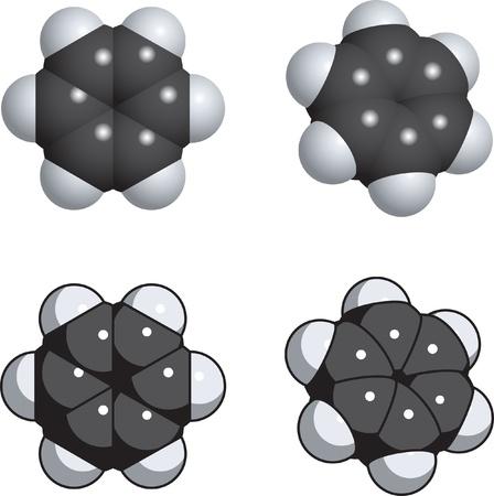 A spacefill model of benzene. Фото со стока - 9355997