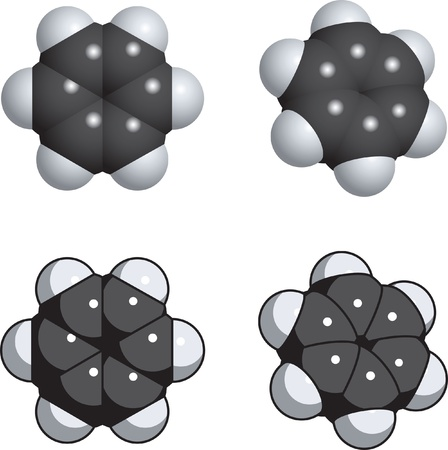 A spacefill model of benzene. Vector