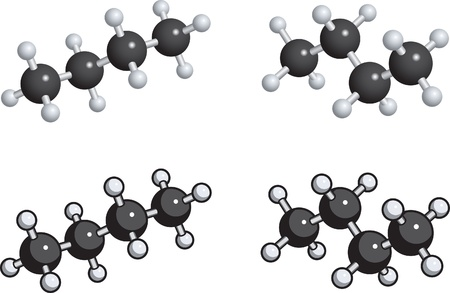 A ball and stick model of butane.