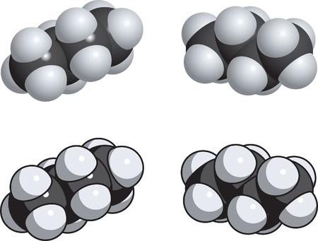 A space fill model of butane. 向量圖像