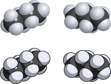 butane: A space fill model of butane. Illustration