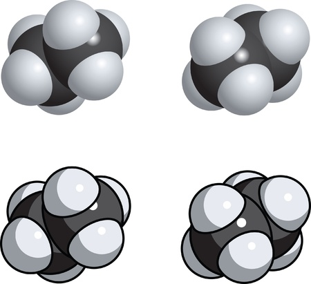 A space fill model of ethane. Vector