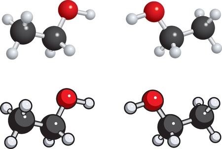 A ball and stick model of ethanol.