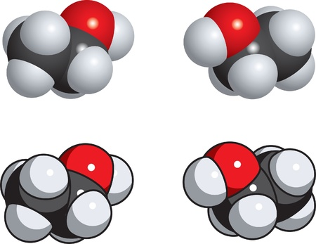 A spacefill model of ethanol. Stock Illustratie
