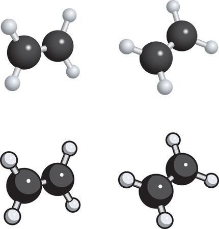 A ball and stick model of ethylene. 向量圖像