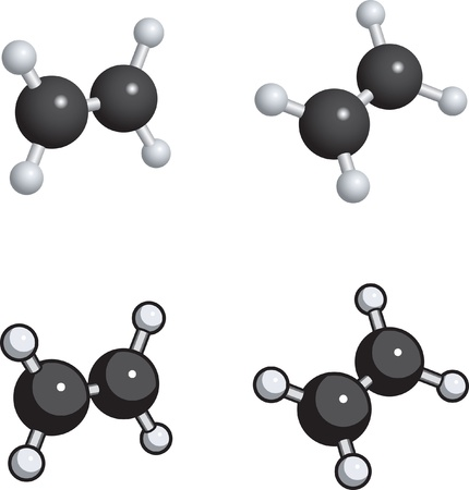 ethylene: A ball and stick model of ethylene. Illustration