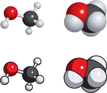 Space fill, ball and stick models of methanol.