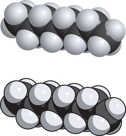 octane: A space fill model of octane.