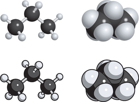 Space fill, ball and stick models of propane.
