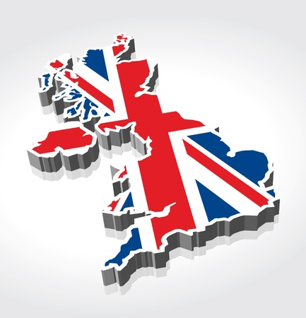 3 D 英国英国の旗の地図  イラスト・ベクター素材