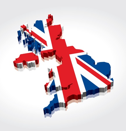3D UK British Flag Map Vector