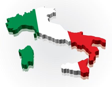 flaga włoch: 3D flag Mapa WÅ'och Ilustracja