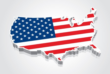 north america: 3D Flag Map of the United States  USA  Illustration