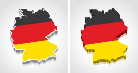Digitally rendered 3D flag map of Germany Vector
