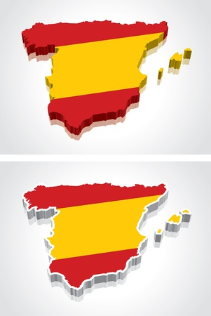 Digitally rendered 3D flag map of Spain Vector
