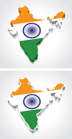 indian art: Digitally rendered 3D flag map of India Illustration