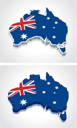 flag: Digitally rendered 3D flag map of Australia Illustration