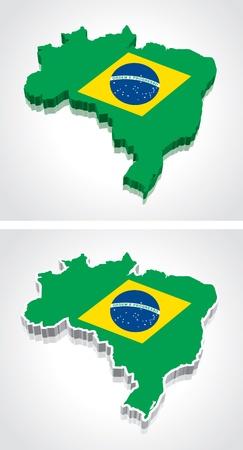 Digitally rendered 3D flag map of Brazil
