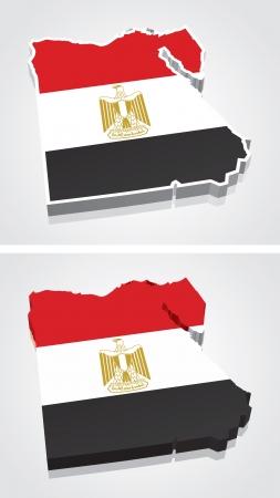 egypt flag: Digitally rendered 3D flag map of Egypt