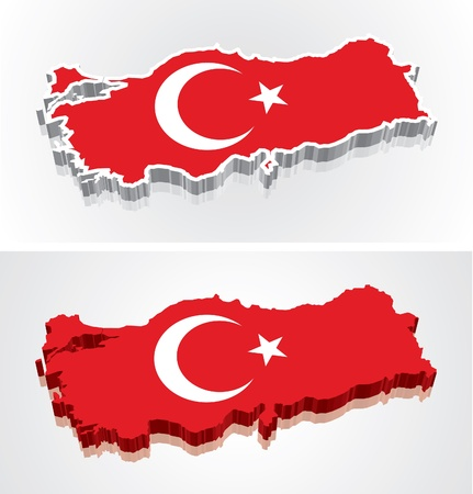 Digitally rendered 3D flag map of Turkey