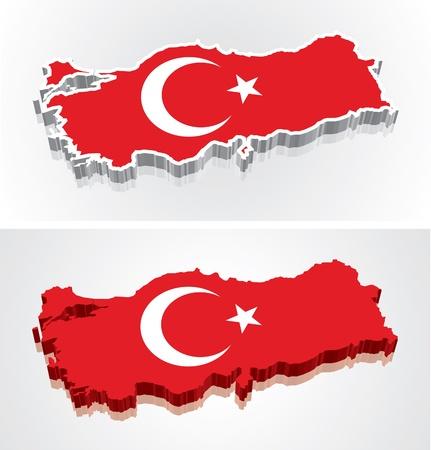 Digitally rendered 3D flag map of Turkey