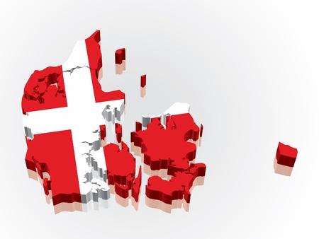 Digitally rendered 3D flag map of Denmark