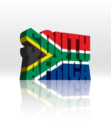 south african flag: 3D South Africa Word Text Flag  Illustration