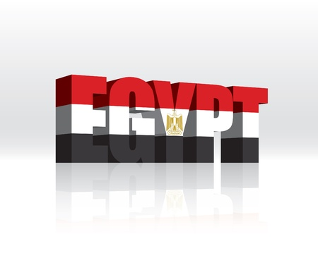 3D Egypt Word Text Flag