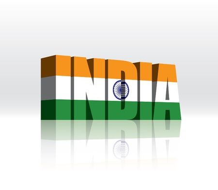 3D India Word Text Flag  Vector