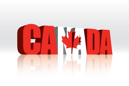3D Canada Word Text Flag  Vector