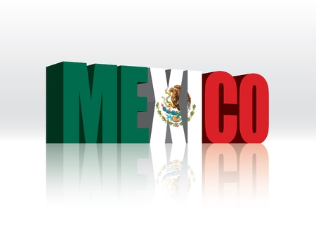 3D Mexico Word Text Flag  Vector