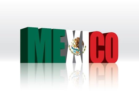 mexican flag: 3D Word Messico Bandiera del testo Vettoriali