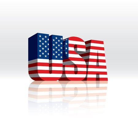 flag: 3D USA (American) Word Text Flag  Illustration